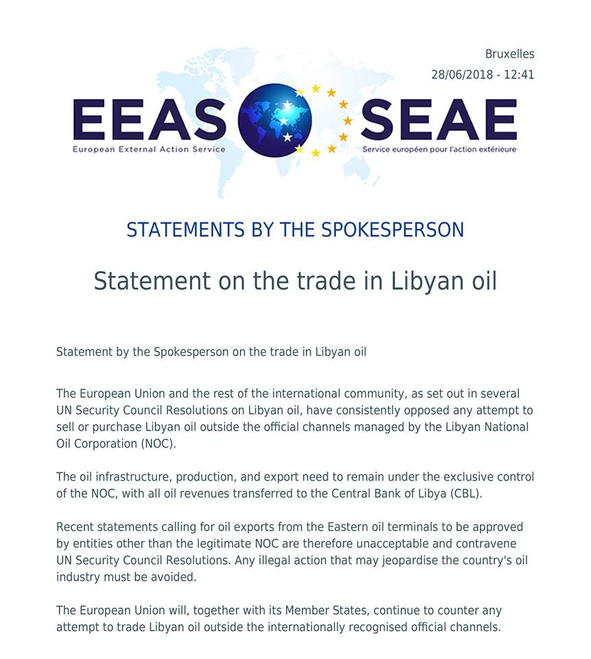 EU says to block any attempts to licitly sell Libya's oil | The