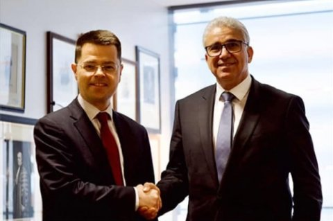 Bashagha (R) with the British Minister of State for Security James Brokenshire