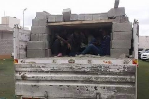 Around 100 Ethiopian illegal migrants, both men and women, intercepted in Tripoli. They were skilfully hidden in a truck fully loaded with concrete blocks while they were on their way to Zuwara to commence their journey to Europe. Saturady, 27 June, 2015.