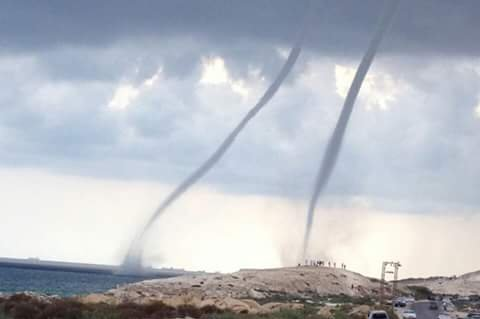 Misrata residents woke up Friday with unexpected rainy weather at the peak of summer season while waterspouts spotted off the coast