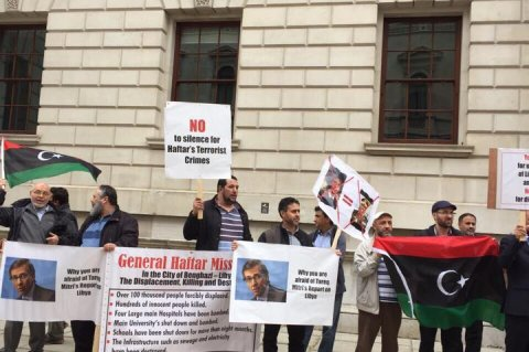 Libyan community in London hold anti-Khalifa Hafter/Leon protest outside UK Foreign Office. Saturday, May 23, 2015.