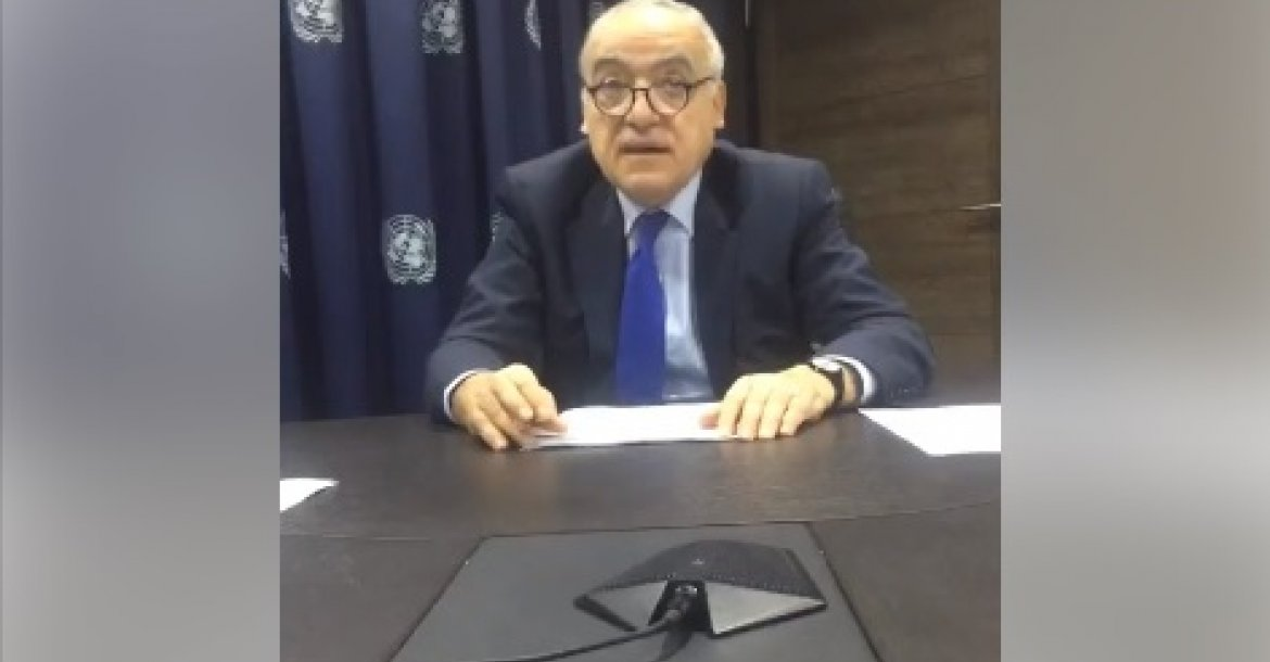 Ghassan Salame briefing the UNSC via telephone conference from Tunis