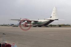 The cargo plane preparing for the flight at Mitiga Airport