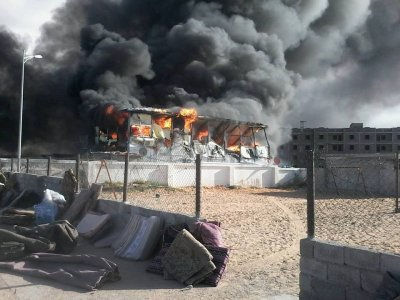 Fire turns makeshift houses of Tawergha IDPs to ashes